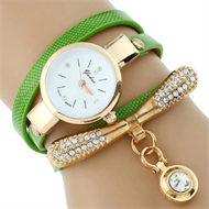 Green Diamante Embellishment Bracelet Design Stud Watch