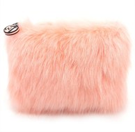 W7 Furry Cosmetic Bag/Purse - Coral