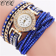Blue Diamante Bracelet Design Stud Watch