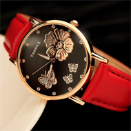 Red Black & Gold Butterfly Design Ladies Strap Watch