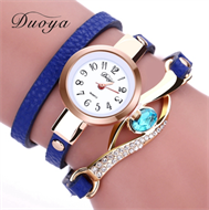 Blue Embellishment Design Leather Strap Stud Watch