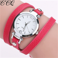 Red Leather Bracelet Design Strap Watch
