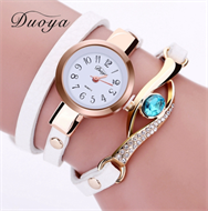 White Embellishment Design Leather Strap Stud Watch