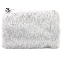 W7 Furry Cosmetic Bag/Purse - Grey
