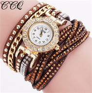 Brown Diamante Bracelet Design Stud Watch