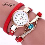Red Embellishment Design Leather Strap Stud Watch