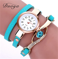 Turquoise Embellishment Design Leather Strap Stud Watch