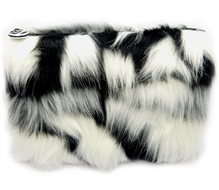 W7 Large Furry Cosmetic Bag/Purse - Black & White