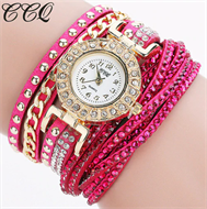 Rose Pink Diamante Bracelet Design Stud Watch