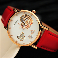 Red White & Gold Butterfly Design Ladies Strap Watch